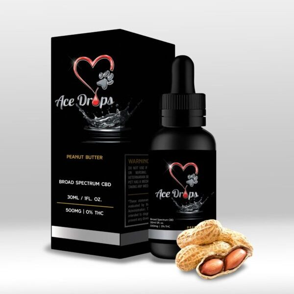 Ace Drops All Natural Premium Pet CBD Broad Spectrum Peanut Butter Flavored 500mg Tincture Bottle 0% THC